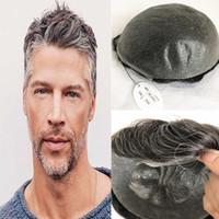 회색 인간의 머리 망 Toupee 전체 Pu 남자가 발 얇은 피부 Pu Toupee 남자 Hairpieces 교체 시스템에 대 한 10 X 8 인치 남자 머리