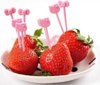 8pcs / pack mignon fourche de fruits créatifs mignon vaisselle à usage multiple usage de gâteau dessert gâteau fourchettes pour la fête