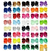 40 Colors 6 Inch Fashion Baby Ribbon Bow Hairpin Clips Girls...