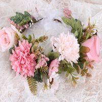Niñas imitación guirnalda de Rose Mujer Mar Alquiler de novia de la boda de flores guirnaldas diadema de pelo Estudio Fotografía Accesorios para el cabello S238