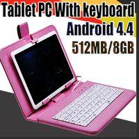 848 Q88 7 polegadas Android 4.4 Allwinner A33 tela capacitiva Quad Core 512MB 8GB Dual Camera Externa Tablet PC com caso de teclado A-7PB