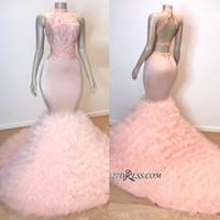 2019 rose col haut robes de bal sexy sirène de bal Backless dentelle Tulle Puffy soirée formelle robe de soirée paillettes Pageant robes sur mesure BC0983