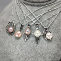 100% Freshwater Pearl Necklace Sliver Pendant Mix Styles DIY Pearl Necklace for Women Girl Jewelry With Chain Christmas Gift