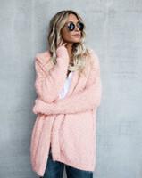 Femme Cardigan capuche Manteaux d'hiver Manteaux vrac chaud Hauts femmes Vêtements molle Mode Solid Color Wear outerwear Femmes