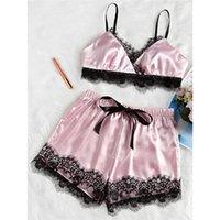 2019 mujeres más del tamaño de la ropa interior del cordón de la pestaña de ropa de dormir bodydoll V-cuello de la tapa del cordón elástico + cortocircuitos Detalles pijamas Set