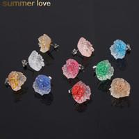 Brincos de estúdio de pedra de resina irregular brincos de cristal cluster brinco para mulheres coloridos cristal quartzo rock brinco druzy gema ouro orelha
