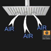 Chuvas de banho Chuveiro de aço inoxidável (304) 16 polegada quadrada escovado Overhead Air Gota Chuvas torneira do chuveiro cabeça