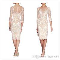 バトーシースレースの花嫁のドレスプラスサイズの2019フォーマル3/4スリーブニーレングスシアーネックアップリケマザー新郎ドレス