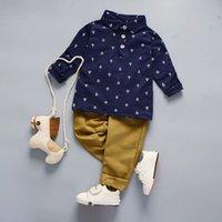 봄 여름 디자이너 아기 소년의 셔츠 바지 2-piec 3-7 세 Olde 정장 키즈 브랜드 어린이 2 PCS면 의류 세트 B28