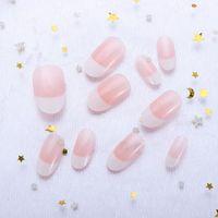 Ложные ногти Обнаженные белые градиентные поддельные с клеем Классический Французский Натуральный Полный Крышка Острые Художественные Инструменты