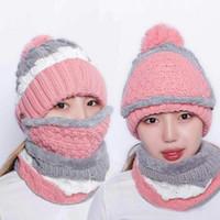 Set 3 varietà indossando cappelli in velluto donne calde inverno spessa biancheria di lana berretto cappello bib maschera femminile maglia a maglia skullies orecchio proteggi tappi yd0444