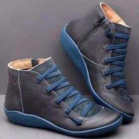 Neueste Winter Schnee Stiefel Frauen-echtes Leder Stiefeletten klassische schwarze Schuhe schnüren sich oben Wohnungen Trainer Größe 35-43
