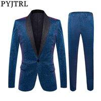 PYJTRL Erkek Parlak Mavi Şal Yaka 2 adet Seti Suits Son Coat Pant Smokin Parti Balo Şarkıcılar Giyim Düğün Suits Tasarımları