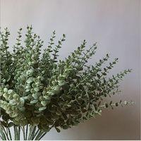 Artificial eucalipto hojas de flor 5 sucursales plantas suculentas que viven verdadero toque decoración de la boda de la flor de pared sala de la decoración del hogar de plástico