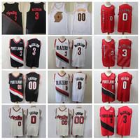 Homens Damian Lillard Jersey CJ McCollum Clyde Drexler Carmelo Anthony Basketball Edição Ganhou Cidade Todos costurado Red Black White alta