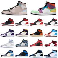 Jumpman 1 1s Erkekler Basketbol Ayakkabıları Kravat Boya Yanardöner Paramparça Backboard Chicago Siyah Toe Bayan Erkek Eğitmenler Spor Sneakers 5.5-12