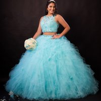 New Light Sky Blue Blan Long Ball Gown Quinceanera Abiti 2 pezzi Dolce Compleanno Party Prom Gowns