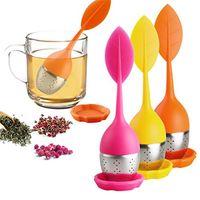 Ferramentas Tea Infuser com 6 cores Aço Inoxidável Folha de silicone de grau alimentício Faça saquinho de chá coador de chá Saco T2I51080