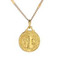 Золотой Цвет Католическая Круглая Медаль Кулон Ожерелья Католицизм Модные Ювелирные Изделия Подарки