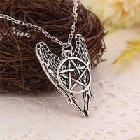 Collar sobrenatural pentagrama Pentáculo Castiel alas de ángel vintage antiguo colgante de plata joyería para hombres y mujeres al por mayor