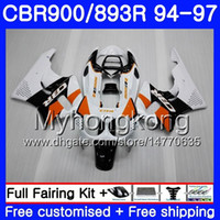 Corpo para HONDA CBR893 RR branco brilhante quente CBR900RR CBR893RR 94 95 96 97 260HM.19 CBR 893 CBR900 RR CBR 893RR 1994 1995 1996 1997 Kit de carenagem