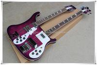 Çift Boyun Mor Vücut 4 + 12 Dizeleri Elektro Gitar Beyaz Pickguard, Krom Donanım, Gülağacı Klavye, Özelleştirilebilir