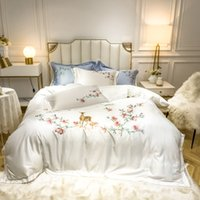 Luxury embroidery Bedding Set cotton Bed Linens Bed Sheet Se...