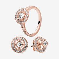 Jóias de casamento de luxo conjuntos 18k rosa ouro vintage círculo anel brinco com caixa original para Pandora Real 925 prata anéis brincos