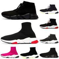 Tasarımcı Çorap Ayakkabı Üçlü Siyah Beyaz Erkek Kadın Chaussures Glitter Volt Pembe Moda Erkek Eğitmen Runner Platformu Sneakers 36 -45 Dantel -Up