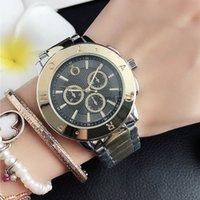 Moda marca relógios mulheres menina 3 mostradores estilo metal banda de aço relógio de pulso de quartzo p70