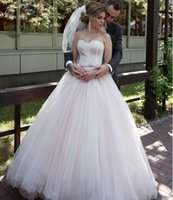 Blush Pink Simple Ballgown Wedding Dresses Lace Applique Rib...