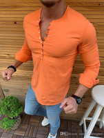 Mens Summer Designer Casual Shirts Crew Neck Long Sleeve Sol...