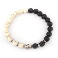 Jolie pierre de lave bracelts 8mm importés blanc turquoise chic bracelets noir volcanique pierre perles Bouddha tête bracelet