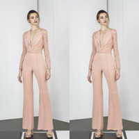 Tony Ward 2019 Jumpsuits Prom Dresses Long Sleeves Deep V Ne...
