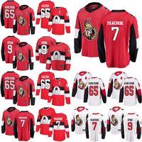 Ottawa Senators jerseys de mujer Jóvenes Niños 7 Brady Tkachuk Jersey 9 Bobby Ryan 65 Erik Karlsson Hogar rojo negro de hockey sobre hielo de los jerseys cosido