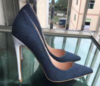 Novo tipo de calça jeans Splicing branco Fine saltos sapatos de salto alto das mulheres Cúspide boca Rasa Único sapatos 2019 8 cm 12 cm 10 cm tamanho grande 44 boate