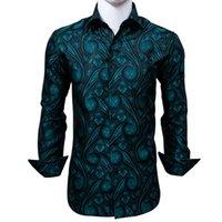 Silk Men's Long Sleeve Shirts Jacquard Woven Black Blue Paisley Slim Shirts for Dress Party Wedding Fast Shipping Exquisite Fashion CY-0005