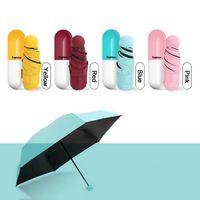 Caso da cápsula Guarda-chuva Ultra Leve Mini Guarda-chuva Dobrável Compacto de Bolso Guarda-chuva de Proteção Solar À Prova de Chuva Chuvoso Ensolarado Guarda Chuva DBC DH0624