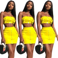 Sexy Strapless Womens Two Piece Set Tube Tops+ skirt Zipper S...