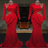 Rote arabische High Hals Mermaid lange Abendkleider 2019 lange Ärmel Satin geraffte Spitze Applique formale Partei Muslim Prom Kleider
