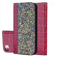 Bling Glitter Shiny Leather Flip Folio Wallet Case Kickstand...