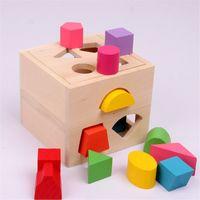 13 개 홀 지능 상자 모양 분류기인지와 나무 빌딩 블록 아기 어린이 어린이 교육 장난감 선물 무료 배송을 일치