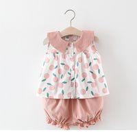 Девочки Одежда Детские лето без рукавов Фруктовый дизайн печати животное кастрюлю воротник рубашки + короткая одежда наборы летние наборы принцессы одежды