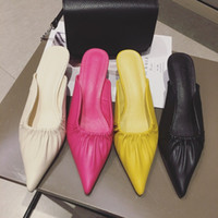 2019 Sommer Plissee Gesicht spitzen Stiletto High Heel Baotou halb Pantoffeln Frauen mit niedrigen Absätzen Pantoffeln