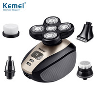 Kemei multifonction 5 en 1 rasoir électrique 5 têtes rotatives lame de rasoir nez oreille Barbe Tondeuse Lavable machine de coupe de cheveux pour hommes