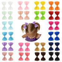 2.75 pulgadas Niños Hairclips Girl Solid Arcos Barretes Baby Boutique Accesorios para el cabello Horquillas para niños 20 Color M097