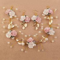 sposa ornamento 3pcs Gold Leaf Classic mano Sposa di promenade dei monili della perla Bianco Rosa Capolino Wedding piece I monili Bridal Hair Ornament