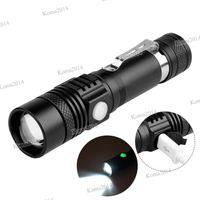 USB المصباح قابلة للشحن البسيطة T6 الوهج 3 طرق للماء زوومابلي الشعلة المحمولة المصباح فانوس 18650 بطارية تعمل بالطاقة