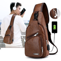 Men's Shoulder Bags Crossbody Bags USB Chest Bag Messenger bag Anti Thef Leather Diagonal Package Back Pack Travel N18
