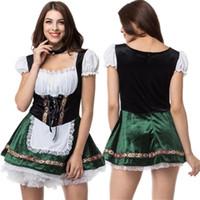 Tema Kostüm 2021 Seksi Oktoberfest Bira Kız Hizmetçi Almanya Bavyera Kısa Kollu Fantezi Elbise Dirndl Yetişkin Kadınlar için Cosplay
